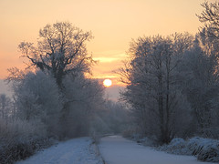 Sun and Canal, Queens Head, Shropshire (Fin Wright) Tags: sunset england snow ice canon landscape ian landscapes canal frozen shropshire powershot montgomery wright fin ianwright queenshead montgomerycanal g10 finwright finwrightphotographycouk finwrightphotography