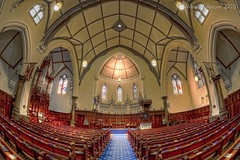 Scots' Church (William Bullimore) Tags: church architecture carpet au australia melbourne arches victoria flags ceiling fisheye altar aisle pews bibles presbyterian presbyterianchurch scotschurch canonef15mmf28fisheye canonrc1wirelessremote manfrotto190xbtripod canon5dmkii manfrotto322rc2heavydutygripballhead
