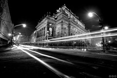 National Theatre of Prag / Nrodn Divadlo (Jirka Chomat) Tags: city winter bw snow czech prague theatre tram prag praha czechrepublic zima bohemia nationaltheatre noc tramvaj msto ulice divadlo svtlo snh ernobl nrodndivalo