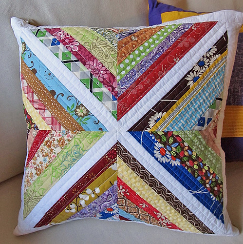string block quilted throw pillow