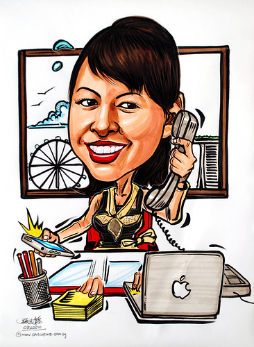 Multi-tasking caricature for Mandarin Oriental HOtel Group