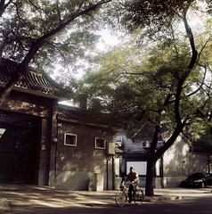 ( ken ) Tags: china street shadow tree men 120 6x6 film bicycle kodak beijing    flexaret   meopta ektacolorpro160
