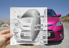 Pencil Vs Camera - 44 (Ben Heine) Tags: road street pink summer inspiration detail building art industry car danger pencil paper creativity typography photography freedom miniature automobile colorful hand cross drawing stones pierre empty horizon main tube creative tunnel bluesky voiture dessin route greece machinery illusion libert smiley scales future reality vehicle imagination series inside motor sciencefiction draw crayon escher comet papier depth divided imagery automvil meteorites crosshatching shootingstar wagen  profondeur  samochd theartistery halfreal autovettura benheine samsungimaging nx10 jeudchelles pencilvscamera
