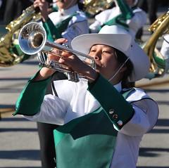 Making Music! (sfPhotocraft) Tags: california music trumpet blow marchingband horn pasadena roseparade cowboyhat 2011
