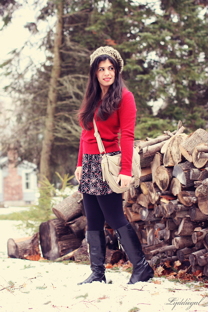 Winter red meets spring floral