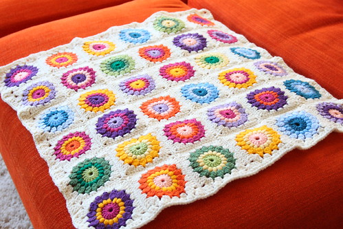 Finished: The Sunburst Granny Square Blanket!