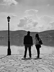 (Nick-K (Nikos Koutoulas)) Tags: bw lake love nikon couple nikos f4 vr nickk kastoria 1635mm  d700      gvr1 koutoulas