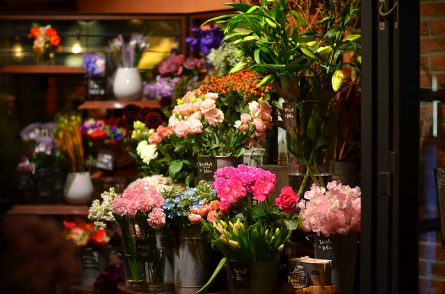 花、開放。