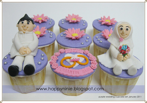 purple wedding cup cak eset