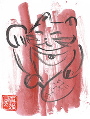 Red Maneki Neko (plasticpumpkin) Tags: pink red art japan cat japanese kitty manekineko luckycat brushpainting