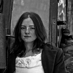 Freckles survived the winter. (Laureos) Tags: winter portrait blackandwhite snow tractor monochrome automne canon hiver automn portraiture freckles rousse freckle 50d girlsnow portraitmonochrome automnwinter laureos tcherousseur