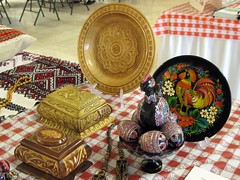 Display of handcrafts, SerbFest, Serbian Orthodox Church, Omaha (ali eminov) Tags: decorations art souvenirs nebraska folkart festivals celebrations displays eggs omaha plates boxes carvings picnik serbianorthodoxchurch serbfest decoratedboxes painteddecorations russianfolkart joyouscelebrations carveddecorations ukrainianfolkart paintedeastereggs decoratedplates
