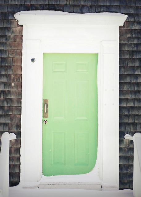 green door in winter