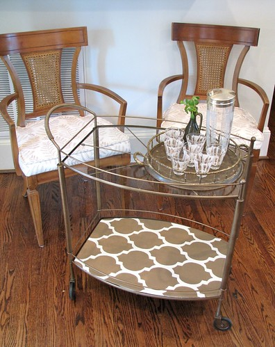 Stenciled bar cart