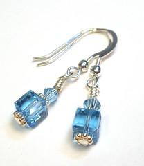 Aquamarine Blue Crystal Cube Sterling Silver Earrings (lauwil243) Tags: birthday blue wedding silver march crystals crystal under aquamarine jewelry womens gifts gift bridesmaid sterling swarovski earrings 20 bridal birthstone designsbylaurie