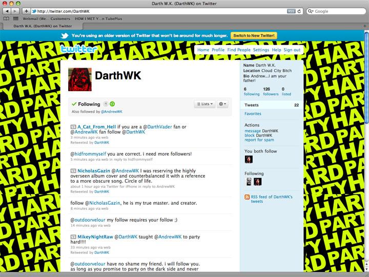 2011/01/15 Darth W.K. Twitter Page