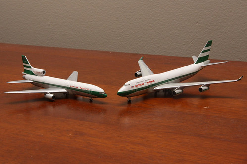 Cathay Pacific models: Lockheed L1011 Tristar and Boeing 747-400