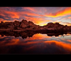 Joshua Tree Inferno (TomGrubbe) Tags: california sunset landscape fire nationalpark rocks desert scenic joshuatree hoodoo afterglow barkerdam underlight