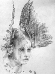 Breeze - WIP (WhenYouEscape) Tags: flowers art girl illustration pencil dark paper artist drawing decay feathers dream dreamy dreamer alexandermcqueen fashionillustration jessicastewart