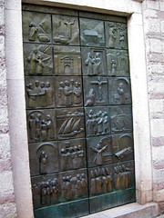 Bas reliefs on modern church doors, Kotor, Montenegro (Paul McClure DC) Tags: sculpture architecture montenegro dalmatia kotor crnagora june2010 cttaro
