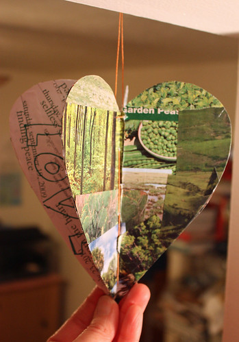 Repurposed paper heart (green)