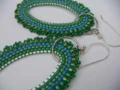 Spring green oval (annacmei) Tags: earrings springgreen seedbeads beadedjewelry beadedearrings