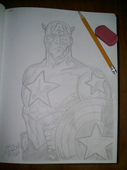 Captain America sketch (*Breeding The Disease*) Tags: black art love america work stars book sketch comic drawing stripes patriotic super 11 daily suit doodle captain take comicbooks strong shield 20 quick captainamerica eleven charge weight twenty superheros lr lifter lure heros roids blackbook btd steriods hba 2011 b2d lewer lewar lewor lewr