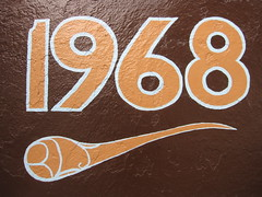 1968, when weird symbols were king (Hamburger Haven, 800 Clement Street at 9th Avenue) (throgers) Tags: sanfrancisco california richmond guesswheresf 1968 9th foundinsf clement gwsf hamburgerhaven