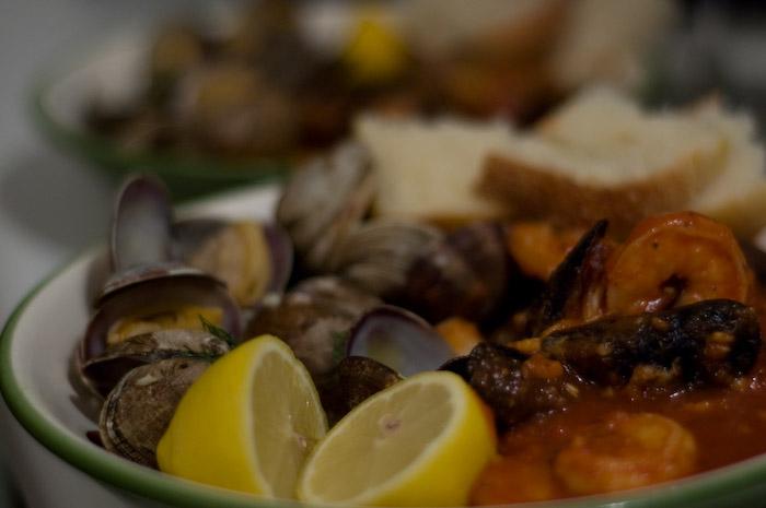 Clams and Seafood Cioppino.