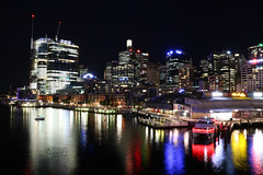 Darling Harbour (lukedrich_photography) Tags: australia oz commonwealth أستراليا 澳大利亚 澳大利亞 ऑस्ट्रेलिया オーストラリア 호주 австралия newsouthwales nsw canon t6i canont6i history culture sydney سيدني 悉尼 सिडनी シドニー 시드니 сидней metro city vivid night light dark longexposure boat water transport ship tourist tour aquarium sealife wildlife madametussauds site attraction entertainment family architecture building darling harbour cbd centralbusinessdistrict longcove pyrmont bridge skyrise view skyline cityscape overlook promenade kingstreet wharf pier