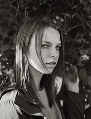 (theelectricmango) Tags: nikkor modeling 35mm 100asa fashion blackwhite f18 50mm film foliage kentmere100 caffenol model portait f3 nikon