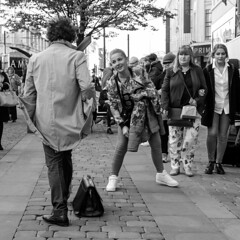 XPRO3743-1-2 Windswept man (Lawrence Holmes.) Tags: fuji xpro1 streetphotography street blackandwhite noiretblanc mime streettheatre windsweptman marketstreet manchester uk lawrenceholmes