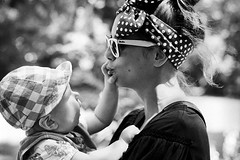 Happy faces (ntitov) Tags: family two portrait people blackandwhite woman baby love girl female mom happy togetherness holding infant child outdoor touch mother happiness retro together laugh positive youngadult touching younggirl youngmother