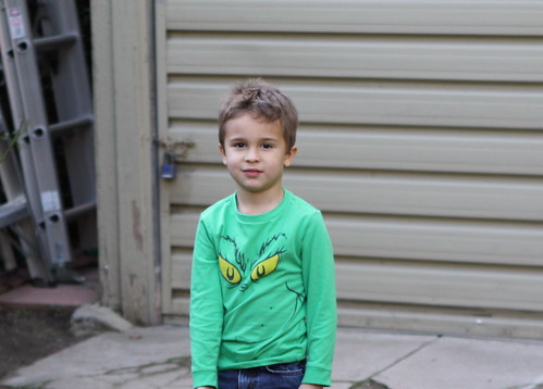 Ezra in his Grinch shirt