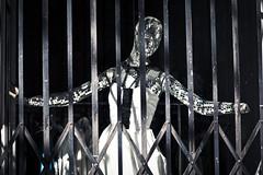 Life Behind Bars (Jeremy Brooks) Tags: sanfrancisco california blackandwhite bw usa mannequin mirror blackwhite marketstreet windowdisplay sanfranciscocounty