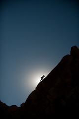 Apparition Rock Silhouette Harold Russell Climber - Unknown Route (Amicus Telemarkorum) Tags: sky black nature sunshine silhouette rock landscape joshuatree climbing human backlit climber rockclimbing joshuatreenationalpark hightlights bentlight indiancove arrette haroldrussell advancedyetiphotography jeffrueppelphotography apparitionrock