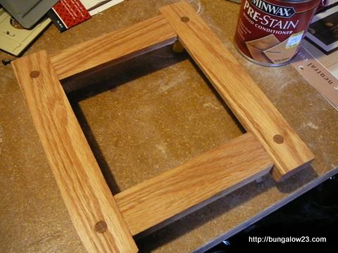 Frame after wood conditioner