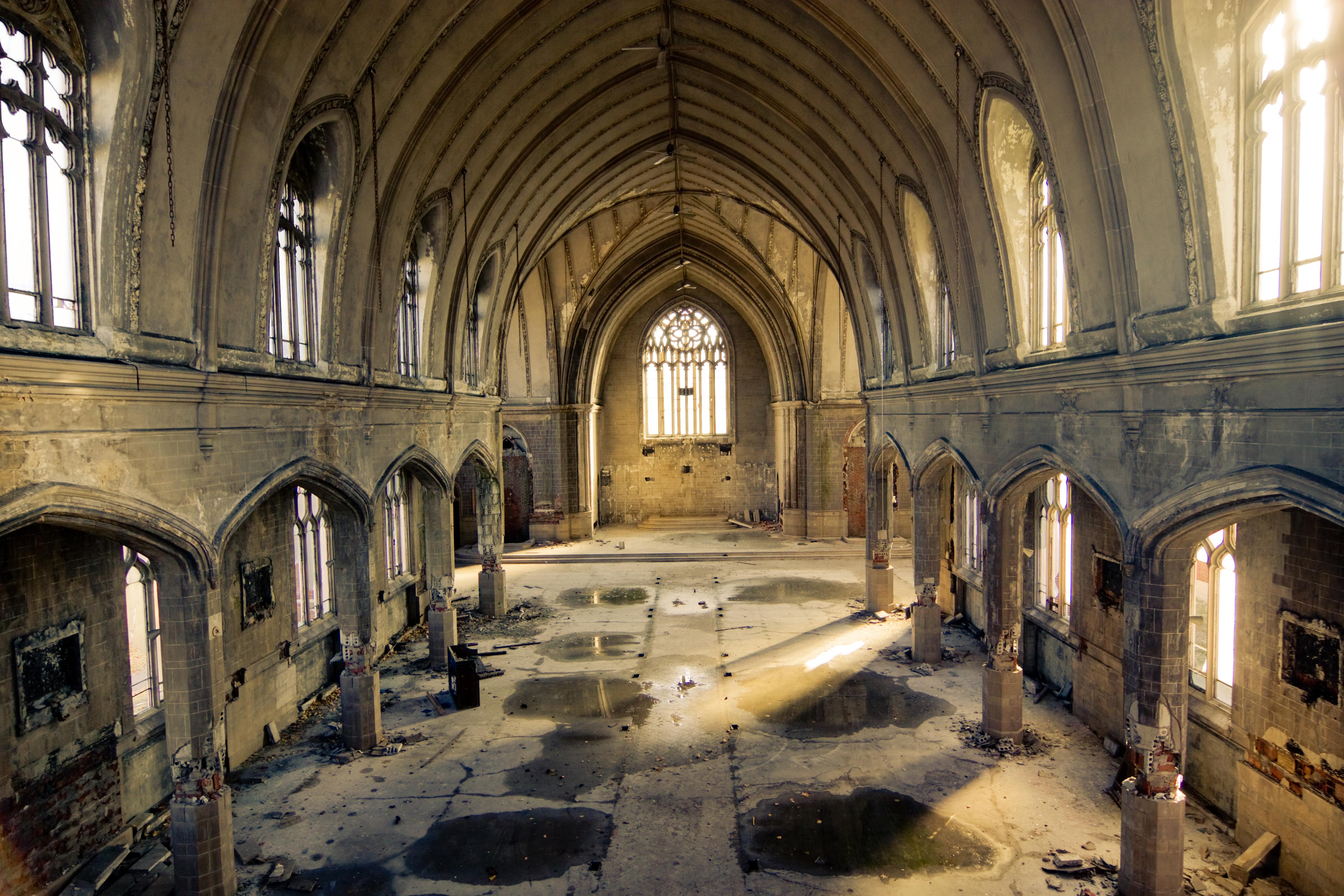 フリー画像] 建築・建造物, 廃墟, 教会・聖堂・モスク, アメリカ合衆国