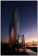 (Mr. Greenjeans) Tags: sunset boat dock louisiana ship mississippiriver riverfront bluehour warmemorial drydock 10mm canonefs1022mmf3545usm usskidd mrgreenjeans gaylon mississippiriverbridge downtownbatonrouge gaylonkeeling