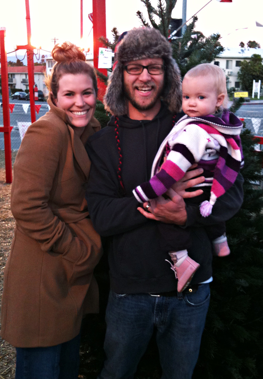 Scott and Morgan and Delilah at the Christmas Tree lot - soCOLD