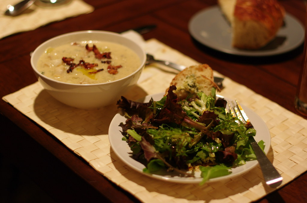 Razor Clam Chowdah and Mixed Green Salad