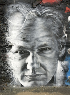From flickr.com/photos/40936370@N00/5243713736/: Julian ASSANGE arrested, painted portrait - Wikileaks