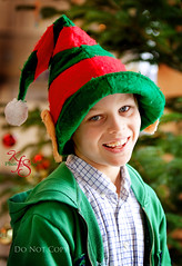 Elf (Kidzmom2009) Tags: christmas boy silly smiling festive fun happy 8yearsold christmasspirit elfhat kidzmom2009 familygetty2010 kfsphotography gettyholidays2010