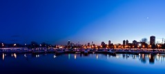 Winter Sunset (Christopher.F Photography) Tags: longexposure sunset moon chicago skyline night reflections lights harbor nikon cityscape pano panoramic lincolnpark diverseyharbor d3000
