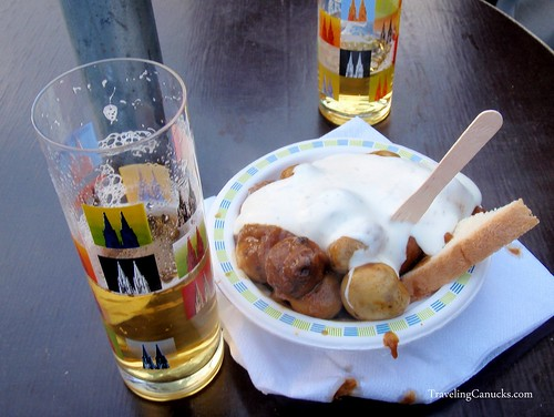 Kolsch and Fried Mushrooms at Cologne Christmas Market, Germany