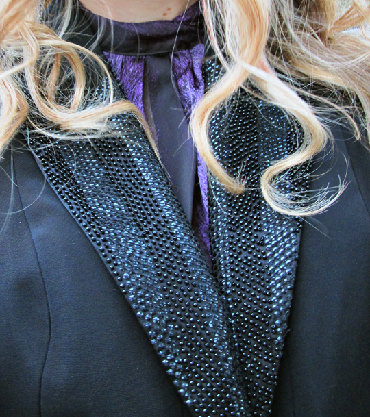 sequins and beaded lapel suit jacket