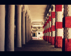 Red, White, Light & Pattern! (VinothChandar) Tags: light red india white color heritage colors temple colorful pattern god patterns religion culture spiritual tamilnadu kancheepuram templetown