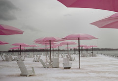Sugar Beach (ardenstreet) Tags: pink snow toronto ontario water clouds lakeontario umbrellas corus muskokachairs sugarbeach