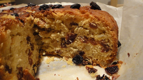 20.Dec.10 surprisingly fluffy Panettone when heavy with sultanas and candied peel
