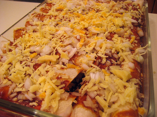 unbaked red enchiladas